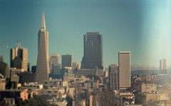 Augmented reality (m_travels) Tags: filmphotography kodakektar100 analog 35mm argentique lenswhacking freelensing lensoff focus blur surreal sf skyline transamericapyramid building architecture skyscrapers towers downtown iconic experiment sky sanfrancisco