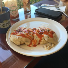 A little hot sauce with that (amlibrarian) Tags: buttecloud medford 2016 hotsauce biscuitsandgravy biscuits breakfast