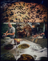 Family dinner (Melissa Maples) Tags: storelyngby denmark europe apple iphone iphone6 cameraphone multipanel pentaptych evening dinner food christina jacob table cooking pumpkinbread bread pork sausage