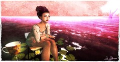 Tea break (La Baroque (Laura) thnx for your favs) Tags: sea water woman girl cup pink chair texture secondlife