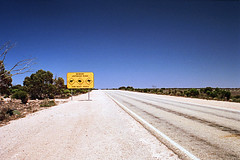 Eyre Highway (Stefan Ulrich Fischer) Tags: australia outback olympusmju2 kodakektachrome southaustralia 35mm oz outdoor scanned analogue downunder highway street sign streetsign eyrepeninsula landscape