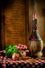Light Dinner (lclower19) Tags: chianti bottle menu wood pepper onion pasta lightpainted old red checker napkin dripcandle candle smoke still life takeaim