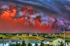 Screaming Sky (David K. Edwards) Tags: hdr handheld triplet sunset storm thunderstorm thunder sky wind rain lightning clouds mayfield cavendish rustico pei princeedwardisland canada