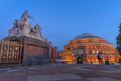 Memorial To A Prince (Leigh Cousins RAW) Tags: royalalberthall princealbert memorial queenvictoria albertmemorial europe kensington statue concert hall bluehour patrickmacdowell kensingtongardens london history distinctive building artsandsciences citylights