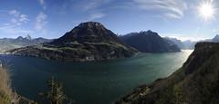 Lake Luzerne, Switzerland (JohannesMayr) Tags: switzerland vierwaldstättersee luzern see lake overlook schweiz kanton obwalden nidwalden schwyz mythen grosser brunnen alpen berge mountain alps sonne sun gegenlicht sonnenstern abgrund tiefblick ausblick aussicht seelisberg schillerbalkon schillerterrasse das rütli rütliwiese fronalpstock