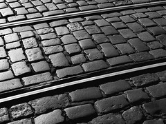 PM201884_medium_1600 (ThomasKrannich) Tags: prag praha abstract blackandwhite bw clean cobblestone contrast gap ground joint messy monochrome nobody outdoor rail railway steel street mtcand pattern architecture texture lines stones diagonal minimalism