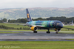 TF-FUI Boeing 757-200 Icelandair Glasgow airport EGPF 20.08-16 (rjonsen) Tags: plane airplane aircraft hekla aurora special livery