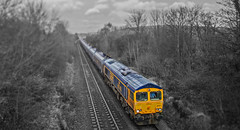 Photoshop 66 (thestig2) Tags: uk white black station sarah modern photoshop power derbyshire go shift rail railway 66 class round gb merry coal tilt railways mgr creswell colliery thoresby railfreight gbrf 66750