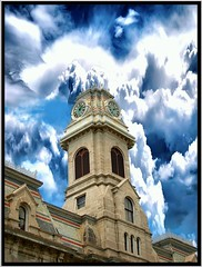 Oswego City Hall ~ Oswego NY ~ Historical Building (Onasill ~ Bill Badzo) Tags: county city sky white ny building tower clock stone architecture clouds hall site nelson historic architect historical classical register horatio attraction oswego mansard nrhp onasill