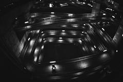 Untitled (Sandro Bisaro) Tags: street nightphotography urban blackandwhite bw japan night canon dark blackwhite lowlight asia streetphotography fisheye   nippon osaka schwarzweiss nihon konohana canon5dmarkiii tokinaaf1017mmf3545atxdxfisheye sandrobisaro konohanabridgewalkway
