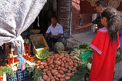 .Marrakech streets |1 (]babi]) Tags: africa street people man vegetables fruit market muslim streetphotography morocco marrakech souk worker vendor stole