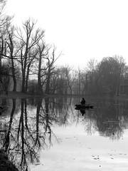 fishing 3 (Darek Drapala) Tags: park autumn trees blackandwhite bw reflection tree nature water boat blackwhite fishing poland polska panasonic warsaw warszawa wilanow reflects panasonicg5
