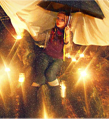 Bright Eyed Flurry (MyMoralAmnesia) Tags: she winter light woman snow cute girl lady female night umbrella lite happy photography doll pretty candles glow pants sweet outdoor bret creative dream picture scene her theme lennon hodson krystalyn undonestar