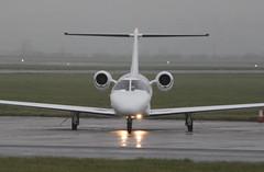 G-OCJZ (aitch tee) Tags: wet weather aircraft visitors cessna citation bizjet walesuk cardiffairport gocjz