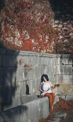 Hermeticism (Emanuela Vanfiori) Tags: autumn orange selfportrait roma me nature fountain leaves warm poetry roman antique inspired font rest concept conceptual nymph formia fount