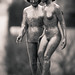 Shy nude Girl and elderly Woman