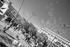 The bubble man (Playing_with_light) Tags: city sky bw man germany flying soap nikon downtown cigarette air hamburg bubbles center d800