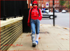 `1232 (roll the dice) Tags: london londonist sw3 kensingtonchelsea chelsea accident unlucky sexy cast pretty broken injury streetphotography red girl mad sad fashion shopping uk art classic england glasses blur unknown unaware people life natural collection flag wall denim brunette urban danger walk brace
