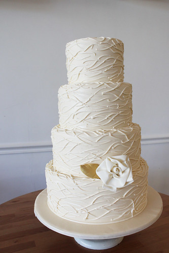 Ivory White Wedding Cake with Piped Twig Texture