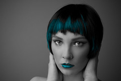 se to stalo.. (Markoni72) Tags: blue portrait woman canon hair studio zoe model eyes lips 400d harlotta