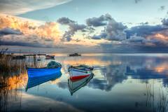 Karina , Ske (Nejdet Duzen) Tags: trip travel sunset sea reflection turkey boat fishing cloudy trkiye deniz sandal karina dalyan fishfarm gnbatm yansma turkei seyahat aydn ske balklk bulutlu