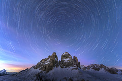 The Tre Cime South Faces by Night (James Rushforth) Tags: travel winter sky mountains colour cortina night way spectacular stars photography star long exposure skiing space extreme north adventure climbing trail alpine di mountaineering tre milky cosmos dolomites dolomiti drei polaris cime dolomiten auronzo startrail zinnen laverado
