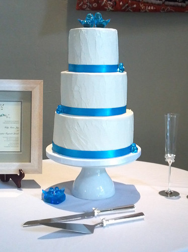 """A very sweet small blue wedding cake. • <a style=""""font-size:0.8em;"""" href=""""http://www.flickr.com/photos/50891271@N03/16162180737/"""" target=""""_blank"""">View on Flickr</a>"""