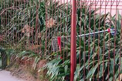 Behind Bars (Occasionally Focused) Tags: pentax trolley manualfocus pentaxm manuallens manualexposure unmetered rawtherapee justpentax urbanshoppingtrolley singleinmay2016