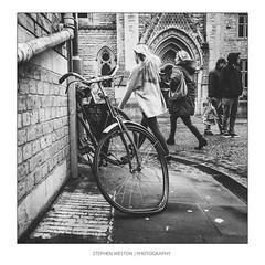 Pairs (Stephen Weston Photography) Tags: street people black monochrome vintage person photography mono photo blackwhite fuji pics outdoor bikes images stephen cobblestones oxford pairs fujifilm weston x20 lightroom 2016 stephenwestonphotography