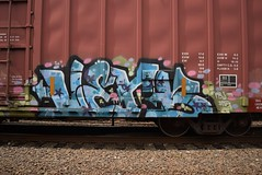 VERB (TheGraffitiHunters) Tags: street pink blue white black green art car train graffiti colorful paint box tracks spray boxcar freight verb benched benching
