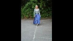 Flowing Satin (Amber :-)) Tags: blue long skirt crossdressing transvestite satin