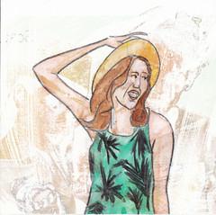 # 163 (11-06-2016) (h e r m a n) Tags: herman illustratie tekening bock oosterhout zwembad 10x10cm 3651tekenevent tegeltje drawing illustration karton carton cardboard meisje vrouw woman girl hoed hat jurk jurkje dress mode fashion