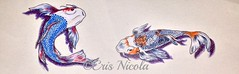 Carps (Cris Nicola) Tags: fish watercolor drawing koi carps koifish pencidrawing drywatercolor