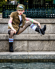 Tank Girl at the Reflecting Pool 1 (Paul Cory) Tags: lighting camera city morning atlanta summer portrait people woman water stairs georgia season lens costume gun unitedstates availablelight naturallight structure weapon cosplayer handgun reflectingpool onlocation dragoncon sciencefictionconvention citypark tankgirl centennialolympicpark geolocation postprocessing fujicamera timeofday niksoftware geocity privatecommission exif:make=fujifilm camera:make=fujifilm fujilens geocountry geostate exif:focallength=140mm exif:aperture=40 colorefexpro4 fujifilmxt1 exif:isospeed=200 camera:model=xt1 exif:model=xt1 dragoncon2015 fujifilmxf50140mmf28rlmoiswr fromcamerajpeg exif:lens=xf50140mmf28rlmoiswr caitlinamanda