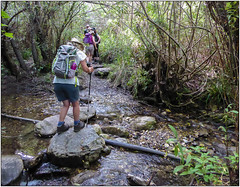 Carefully Does It! (Mabacam) Tags: walking landscape outdoors countryside spain stream hiking country andalucia trail moorish steppingstones hikers walkers 2016 cerroverde lafabricalaluz