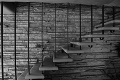 Floating Stairway (TheLostLens) Tags: blackandwhite architecture stairs noiretblanc franklloydwright fallingwater