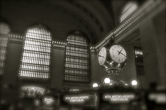 The Nexus Of Destinies (MPnormaleye) Tags: nyc railroad windows bw blur clock station architecture blackwhite haze manhattan trains terminal transportation utata 24mm grandcentral