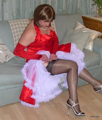 8 Last minute adjustments (janegeetgirl2) Tags: red white black stockings contrast vintage neck tv high glamour opera dress jane crossdressing tgirl gloves transvestite heels suspenders gee satin crossdresser halter ts petticoat stilettos fully nylons garters fashioned seams