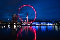 The London Eye (Jemma Graham) Tags: city uk longexposure light england london thames night reflections river britain capital lighttrails shard photo24