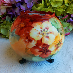 Vintage Austrian Hand Painted Footed Rose Bowl ~ Floral ~ Flowers (Donna's Collectables) Tags: flowers floral rose vintage hand painted bowl ~ austrian footed