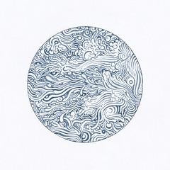 Circle Grey Blue (Alkaline Samurai) Tags: texture water pen circle design waves zig lineart inkart kuretake arlendean alkalinesamurai zigcleancolorrealbrush
