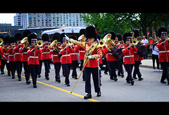 Horn Section Takes a Right (DHaug) Tags: changingoftheguard parliamenthill ottawa marching governorgeneralsfootguards xpro2 xf56mmf12r summer july 2016