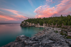 Indian Head Cove, Bruce Peninsula National Park  (Explore - Best Position #13 - September 3, 2016) (Brian Krouskie) Tags: sunset indianheadcove bruce peninsula national park sky clouds water georgianbay rock turquoise longexposure nikond800 nikon173528 trees pink landscape outdoor explore tobermory