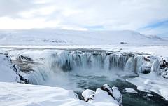 Godafoss in Iceland (suerob) Tags: godafoss goafoss skjlfandafljt iceland waterfall river frozen snow landscape scene scenery dramatic season travel nature countryside