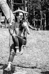 Always kid (XKokmotos) Tags: portrait black white woman blackwhite bw playground play swing ioannina epirus greece greekwoman