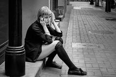 Are you sitting? (johnjackson808) Tags: fujifilmxt1 gastown vancouver bw blackandwhite cellphone monochrome people sidewalk streetphotography