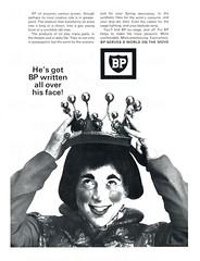 British advertisements: (painting in light) Tags: ad advert advertisement sell selling 1967 british england illustration drawing london bp petrol petroleum fuel car vehicle