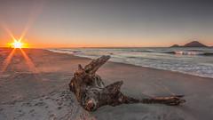 Formless (zebedee1971) Tags: wood driftwood beach sand seashore waves ocean sun sunlight rays orange sky clear cloudless water bbq island sunset shells dusk foam sandy shore shoreline edge tide tidal whakatane nz