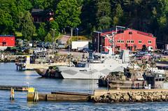 Arriving in Gteborg by ferry (jbdodane) Tags: cycletouring cyclotourisme europe freewheelycom goteborg military navy sweden jbcyclingnordkapp