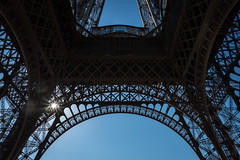 Below the Tower.. (5AAAAM) Tags: city travel blue sky sun paris france tower art buildings french landscape landscapes nice nikon europe cityscape eiffeltower cityscapes landmark eiffel clear below clearsky matel d600 nikond600